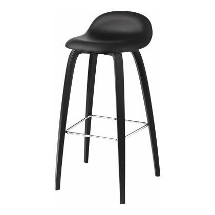Gubi 3D Bar Stool - Wood Base Front Upholstered Image
