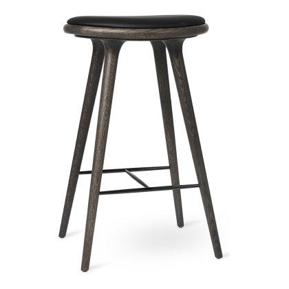 Sirka Gray Oak with Black Leather Stool Image