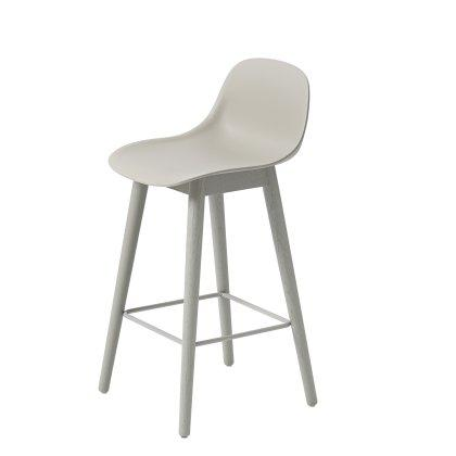 Fiber Counter Stool Wood Base W. Backrest Image