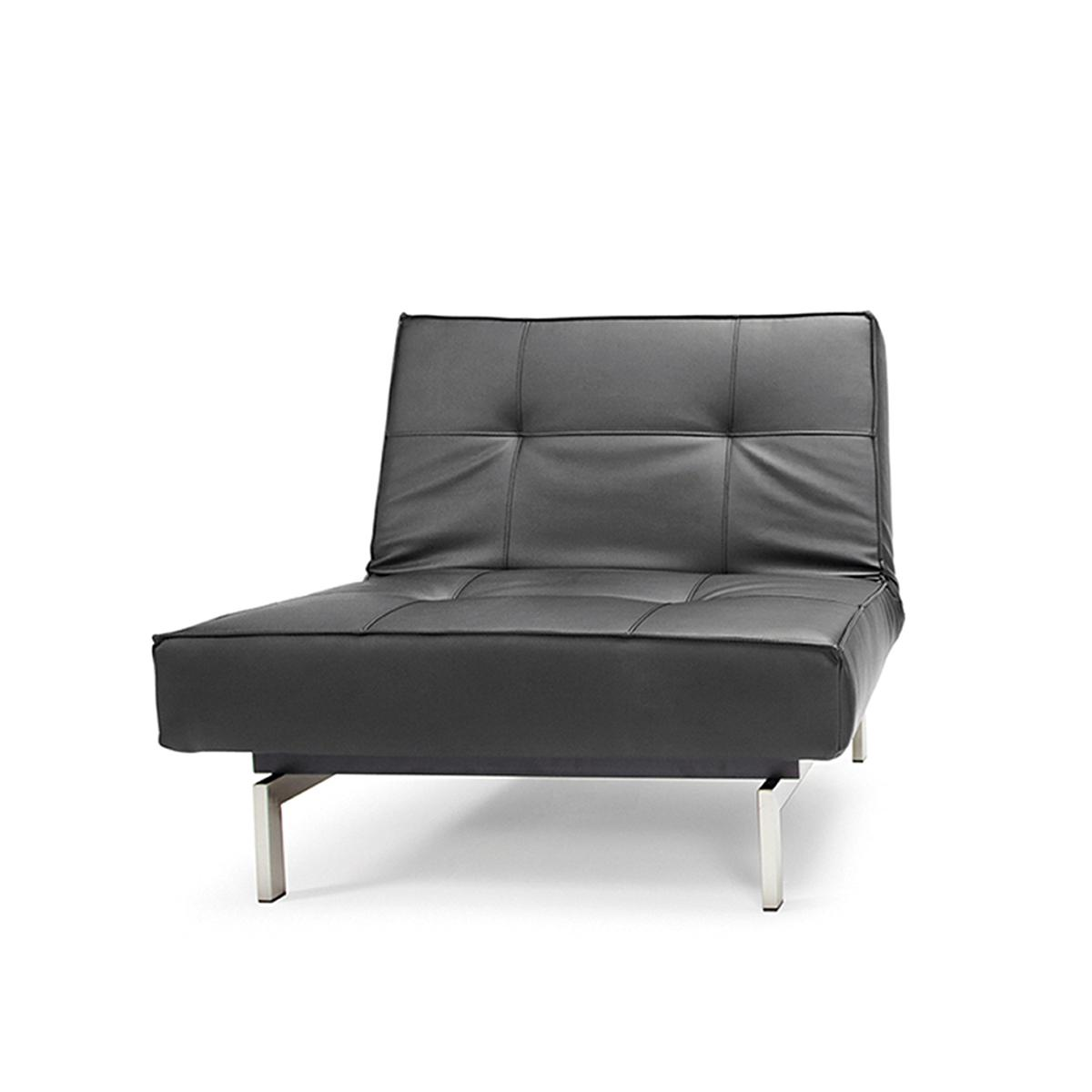 Splitback Chair - Leather Look Black with Stainless Steel